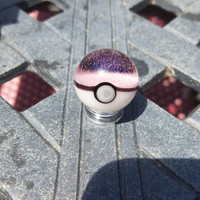 Pink translucent Glass Pokeball Marble
