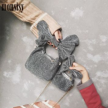 Monsisy Christmas Velour Girl Purse and Handbag Children Wallet Fashion Bow Metal Chain Princess Bag Women Small Shoulder Bag