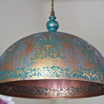 Modern Dome Hanging Light Ceiling Pendant Copper/Gold/Blue Rustic Lamp Metal Fixture Boho Shabby Chic Kitchen Bedroom PLUG IN- MySecretLite