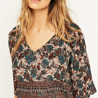 Staring at Stars Floral Pull-On Turquoise Top - Urban Outfitters