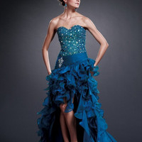 AB8201 High Low Jeweled Prom Pageant or Mother of the Bride Dress