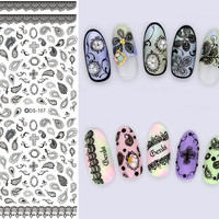 DS108 Nail Design Water Transfer Nails Art Sticker Gray Bowknots Elements Nail Wraps Sticker Tips Manicura nail supplies Decal