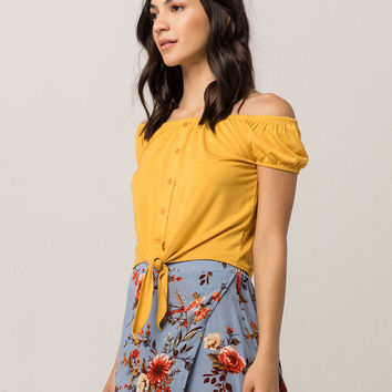 SKY AND SPARROW Tie Front Mustard Womens Off The Shoulder Top