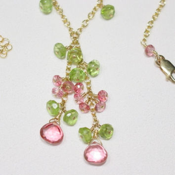 Topaz Peridot 14K Gold Filled Necklace