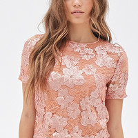 FOREVER 21 Sequined Floral Lace Top Blush
