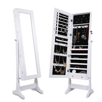 LANGRIA Free Standing Lockable Full Length Mirrored Jewelry Cabinet Armoire 2...