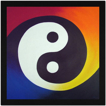 Balance - Placemat of Rainbow Yin Yang Acrylic Paint Fine Art