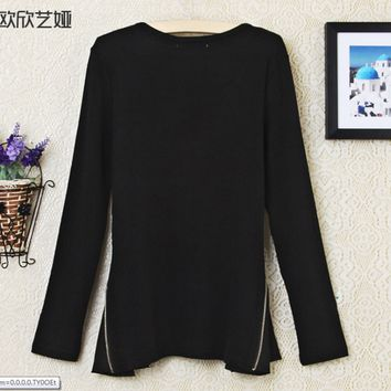 Long-Sleeve Zipper Chiffon Knitted Blouse