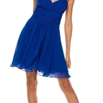 Short Chiffon Bridesmaid Royal Blue Dress Sweetheart Neck Corset Back