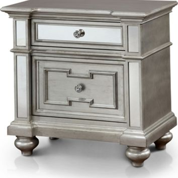 Furniture of America Furniture of America Marisalla Contemporary Silver Glam Mirrored 2-Drawer Nightstand (Silver) (Veneer) from Overstock | BHG.com Shop