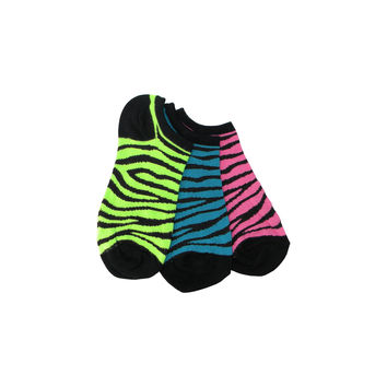 Three Pack Zebra Stripe Footie Socks in Fuchsia, Peacock, and Lime