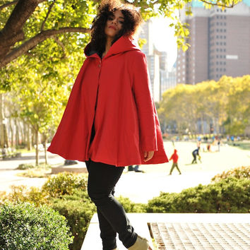 LAST FEW: The ANGELA Swing Coat in Insulated Organic Moleskin - Red (XXL)