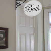 Bath Sign Hallway Sign Shabby Chic French Country Bath Office Laundry Sign