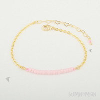 "Delicate Cable Chain, Frosted Innocent Pink Seed Beads, 6"" and 2"" Heart Chain Extension, Bracelet"