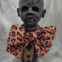Creepy Altered Art Doll Sculpture OOAK VooDoo Statue Scary Zombie Monster Odd Weird By Artist L.Cerrito