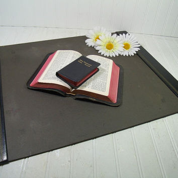 Shabby Chic Black Leather with Gold Tooling Very Large Desk Blotter - Vintage Library Office Accessory - Workspace Mat Ready For Repurposing
