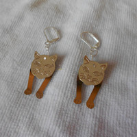 One-of-a-kind Handmade Sliver Dangling Cat  Earrings