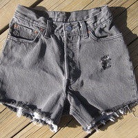 High Waisted Distressed Studded Levi's Shorts by DenimAndStuds