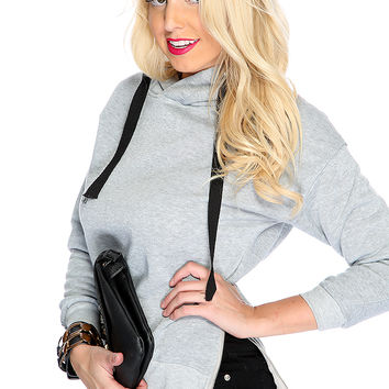Grey Long Sleeve Hooded Cute Sweater