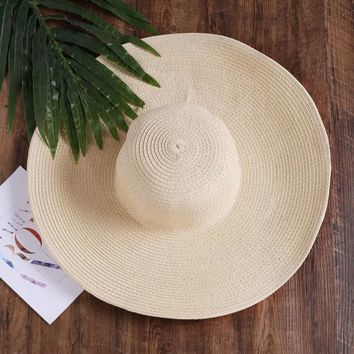 Beach Straw Floppy Hat BEIGE