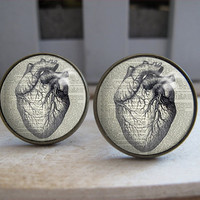 Mens Cuff Links , Vintage Brass Anatomical Heart Design Cuff Link , CUSTOM Cufflinks