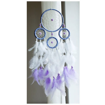 Dreamcatcher, Boho Dreamcatcher, Pastel Dream catcher, White dreamcatcher, Violet, Boho Wall Hanging, Home Decor, Feathers , Gypsy