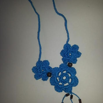 SALE, Gorgeous Blue Crochet Flower Necklace, Handmade Necklace, Blue Necklace