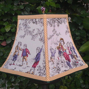 Lampshade Cotton Fabric Square Bell Frame French Toile Style Playing Boys Green Grosgrain Mustard Stripe Handmade Trim Brass Washer Top