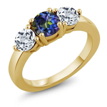 2.00 Ct Round Blue Mystic Topaz White Topaz 18K Yellow Gold Plated Silver Ring