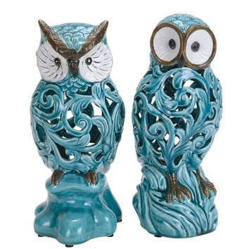 Decorative Ceramic Owl In Blue With Well Design (Set Of 2)