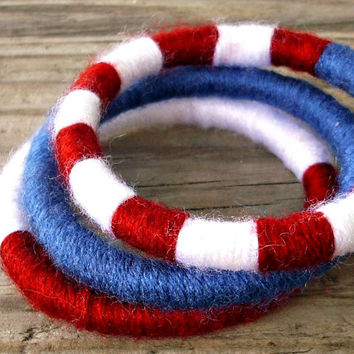 Bangle Bracelets - Yarn Bracelets - Yarn Wrapped Soft Bracelets in American Flag Red White and Blue