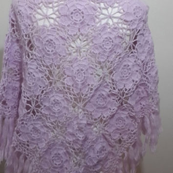 Lilac wedding crochet shawl , bridal shawl bridemaid wrap handmade crochet shawl