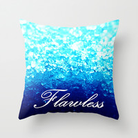 Flawless Turquoise Blue Crystal  Throw Pillow by 2sweet4words Designs