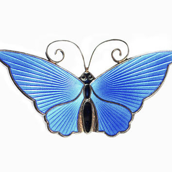 "David-Andersen Norway Large 2 1/8"" Sterling Silver Cobalt Blue Guilloche Enamel Butterfly Pin"
