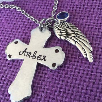 Memorial Jewelry Necklace - Remembrance Jewelry - Cross Necklace - Angel Wing Necklace - Sympathy Gift - Loss of loved one - handstamped