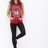 FOREVER 21 Spider-Man Sleeveless Hoodie Burgundy/Multi