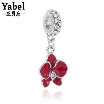New 1Pc Jewelry Silver Pendant Floating Bead European Orchid Bead Fit Pandora Charm Bracelet Necklace Jewelry