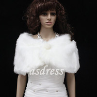white or black Faux Fur Button Closure Bridal Wrap Shawl Shrug Stole Cape  Ivory Winter Bridesmaid Shawl Wedding Accessories