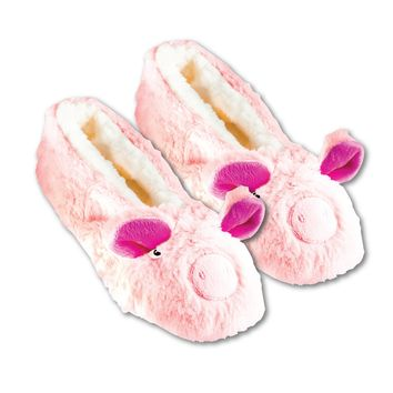 Shea Butter Fuzzy Animal Slippers W Non-Skid Bottoms Pig