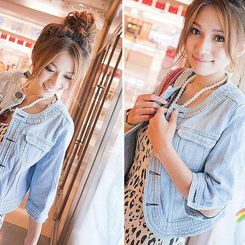 Spring Summer Vintage Cropped Denim Jacket Short Cardigan Coat Jeans Jacket Women Basic Jackets