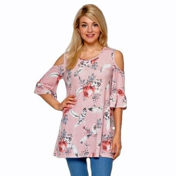 Ayana Cold Shoulder Floral Feather Top