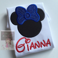 Miss Mouse shirt or bodysuit for girls in red, white and blue -- black mouse ears with shimmery blue bow, and name in red