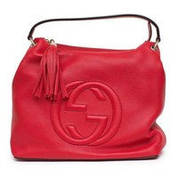 DCCKIX5 Gucci Soho Flame Red Leather Bag Soft Hobo Italy Handbag New