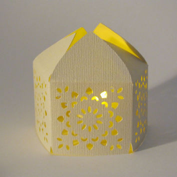 Set of 10 Ivory Handmade Moroccan Middle Eastern Paper Wedding Lanterns with LED Battery Tea Light Candle  Event Decor  - Lighting