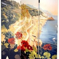 Oriental Furniture Unique Vintage Travel Posters Italian Riviera, 6-Feet Tall Double Sided Amalfi/Riviera Canvas Room Divider