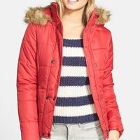 Junior Women's Krush Puffer Coat with Faux Fur Trim Hood