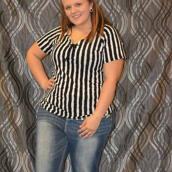 Check it Out striped short sleeve curvy couture plus size