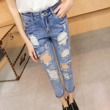 Women 2016 Cotton Denim Pants Stretch Womens Bleach Ripped Skinny Jeans Denim Jeans For Women Bottoms