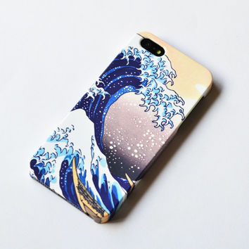 iPhone 5 Case - Hokusai Great Wave Japanese print  Blue, cream and turquoise , iphone 4s case , iPhone 4 case , plastic case
