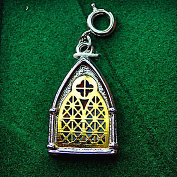 """SARAH COVENTRY Vintage 1977 """"Inspiration"""" Limited Edition Stained Glass Church Window Christmas Charm, Holiday Gift! #A597"""